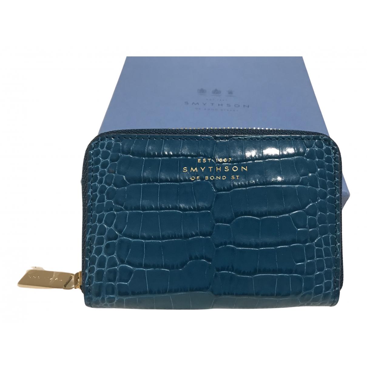Smythson - Petite maroquinerie   pour femme en cuir - bleu