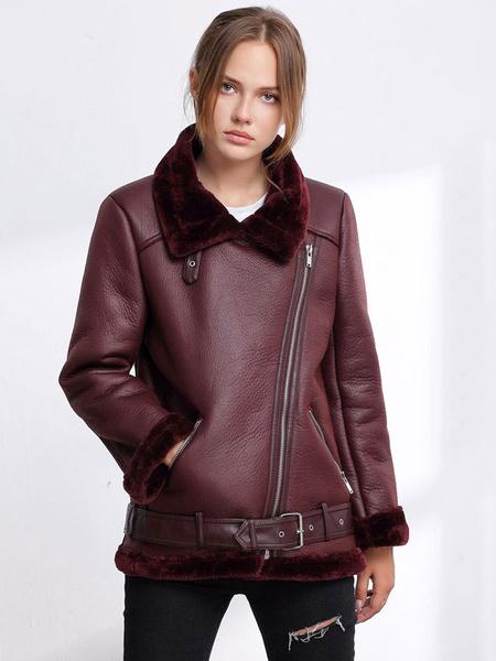 Milanoo Women Moto Jacket Leather Like Faux Shearling Zipper Buckle Biker Jacket