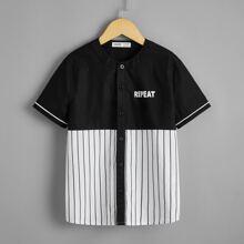Camisa de rayas de dos colores con estampado de letra