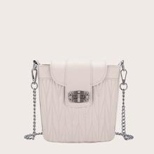 Stitch Detail Twist Lock Bucket Bag