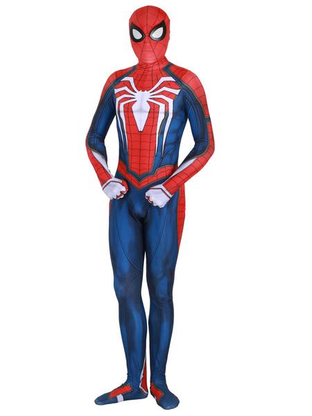 Milanoo Marvel Comics Spider Man Cosplay Red Film Lycra Spandex Jumpsuit Leotard Marvel Comics Cosplay Costume
