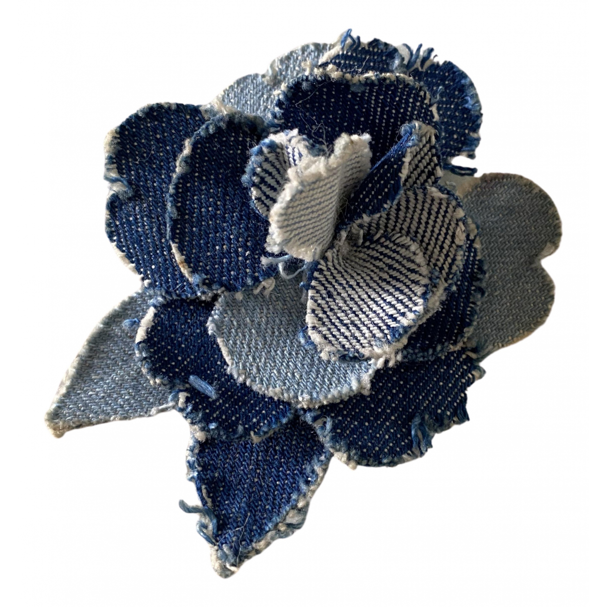 Chanel - Broche Camelia pour femme en toile - bleu