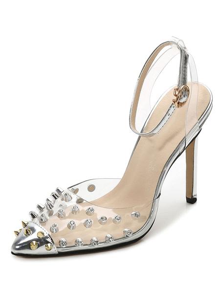 Milanoo Tacones altos negros Remaches con punta puntiaguda Bombas con correa en el tobillo Zapatos transparentes de talla grande