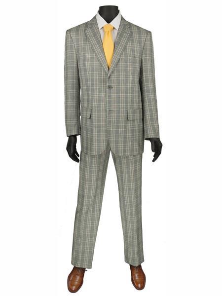 2 Buttons Plaid ~ Window pane Suit Blazer Jacket Pants Grey
