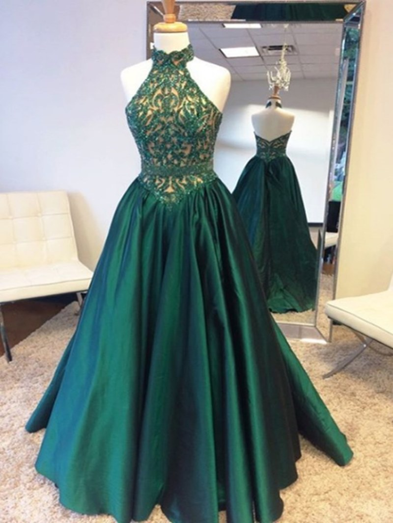 Ericdress A Line Halter Lace Applique Floor Length Long Evening Dress