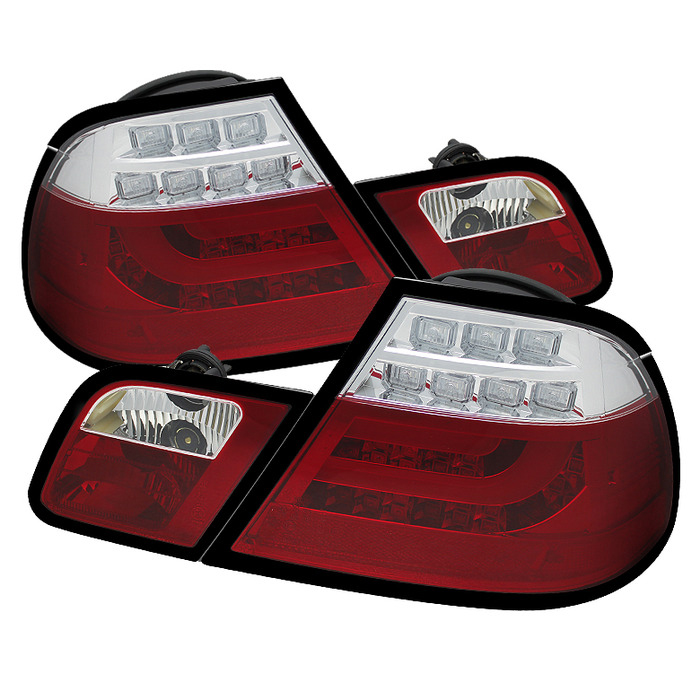 Spyder Auto ALT-YD-BE4600-LBLED-RC Red Clear LED Taillights with Light Bar BMW E46 320i 2Dr Coupe Non-Convertible 00-03