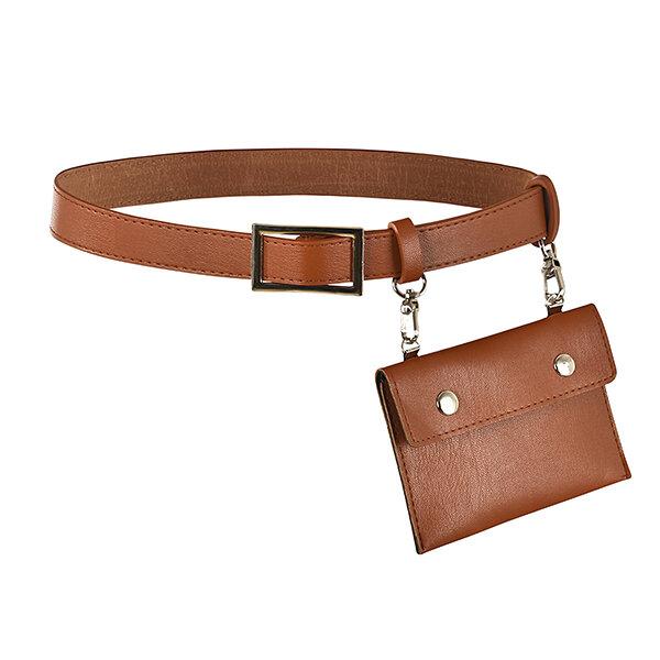 Women Casual PU Leather Belt Bag Solid Stylish Waist Bag