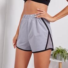 Sports Shorts mit Kontrast Bindung und Netzeinsatz