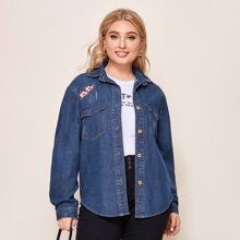 Plus Collared Single Breasted Pocket Front Floral Embroidery Denim Blouse