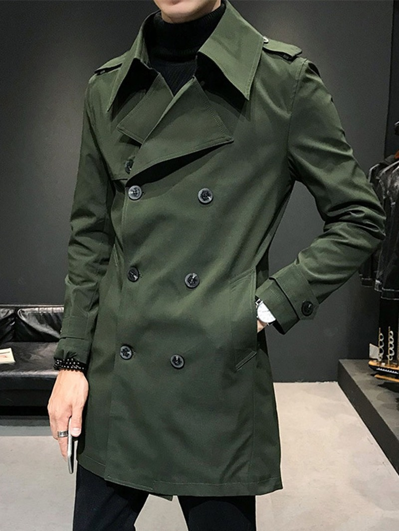 Ericdress Mid-Length Plain Notched Lapel Double-Breasted Thick Men's Trench Coat