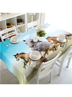Vital Polyester Running Horses Pattern 3D Tablecloth