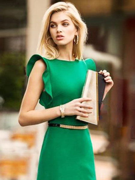 Milanoo Women Bodycon Dress Green Work Dress Ruffle Short Sleeve Pencil Dress