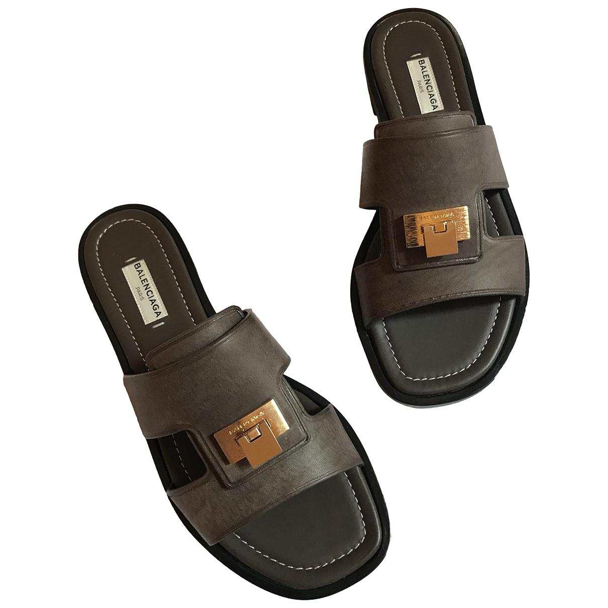 Balenciaga \N Brown Leather Sandals for Women 37.5 EU