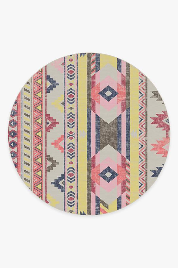 Washable Rug Cover | Kilim Batik Pink Rug | Stain-Resistant | Ruggable | 8' Round