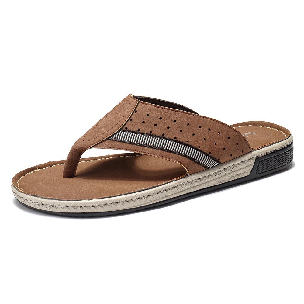 Menico Men Clip Toe Microfiber Leather Hole Non Slip Home Casual Slippers