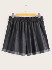 Plus Drawstring Waist Pocket Side Shorts