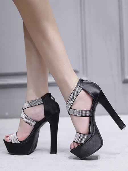 Milanoo Zapatos de Tacon Alto 2020 Sandaliaias Negro con Plataforma con Punta Abierta Diamante de Imitacion Zapatos de las fiestas para Mujer
