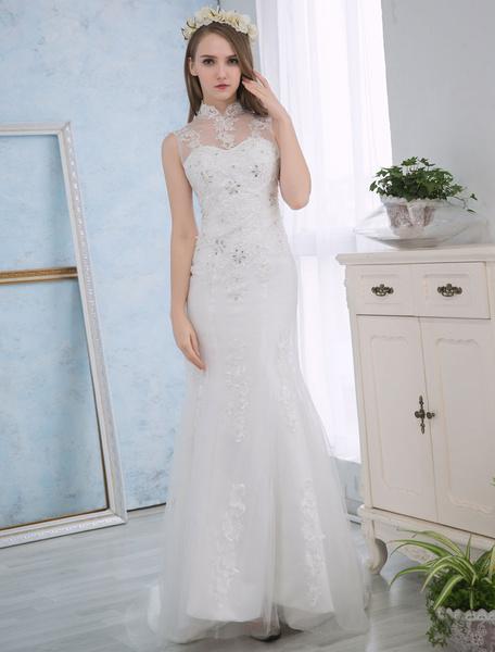 Milanoo Vestido de novia de sirena con cuentas con escote alto cintura natural De banda de encaje sin mangas de silueta sirena Con cola