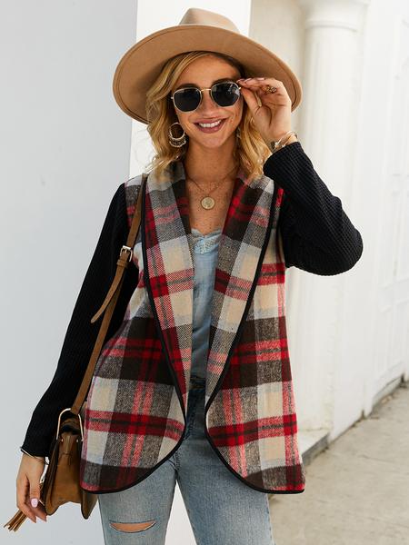 Yoins Plaid Lapel Collar Long Sleeves Coat