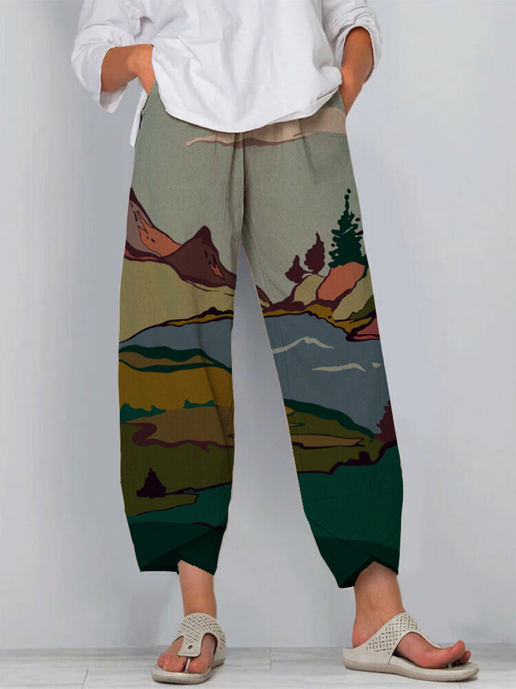 Nature Print Loose Elastic Waist Plus Size Casual Pants