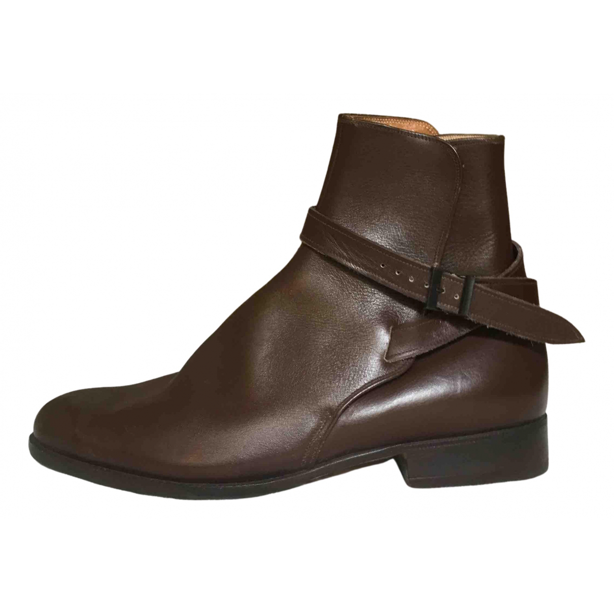 Non Signe / Unsigned \N Stiefel in  Braun Leder