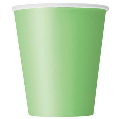 Tasses de papier de Vert citron solide 9oz 8Pcs