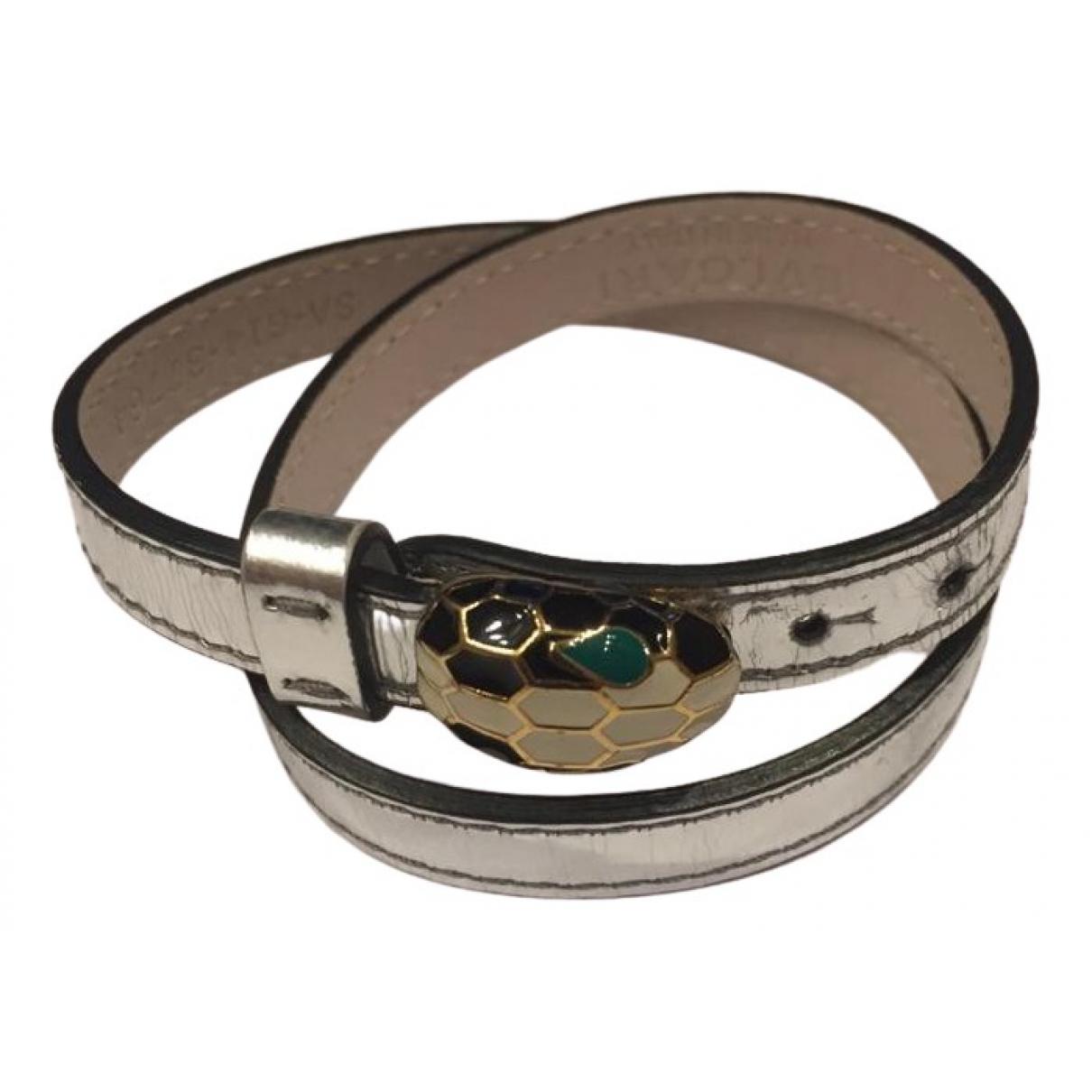 Bvlgari - Bracelet Serpenti pour femme en cuir verni - argente