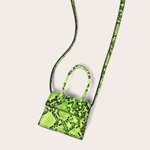Mini Neon Lime Snakeskin Print Satchel Bag