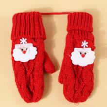 Maedchen Handschuhe mit Weihnachtsmann Muster