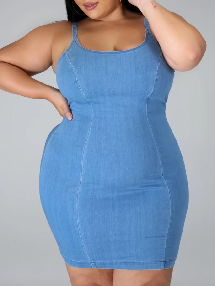 LW lovely Stylish Spaghetti Strap Patchwork Baby Blue Knee Length Plus Size Dress