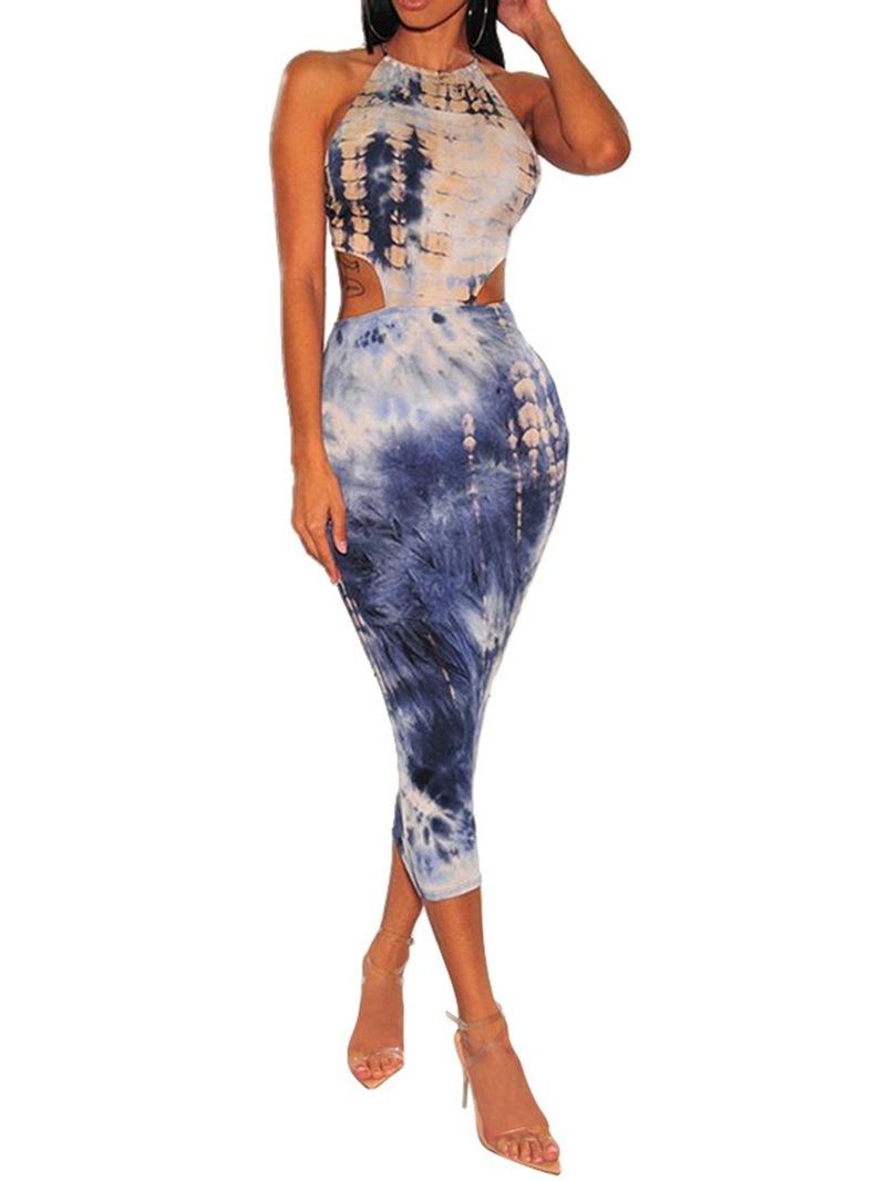 Ericdress Mid-Calf Round Neck Sleeveless Sexy High Waist Dress