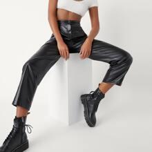 PU Leder Hose mit schraegen Taschen und geradem Beinschnitt