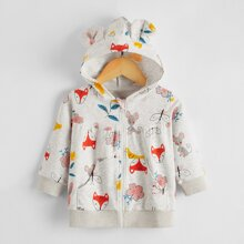 Baby Girl 3D Ears Patched Cartoon Fox And Leaf Print Jacket