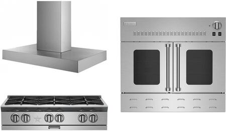 3-Piece Kicthen Package with BSPRT366BLP 36 Gas Cooktop  MH036MA 36 Wall Mount Ducted Hood and BWO36AGSNG 36 Gas Single Wall Oven in Stainless