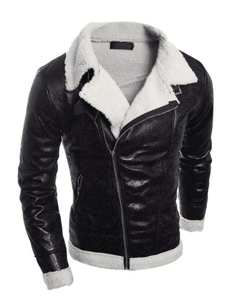 Milanoo Men Leather Jacket Shearling Borg Jacket Zipper Surplice Pu Motorcycle Jacket