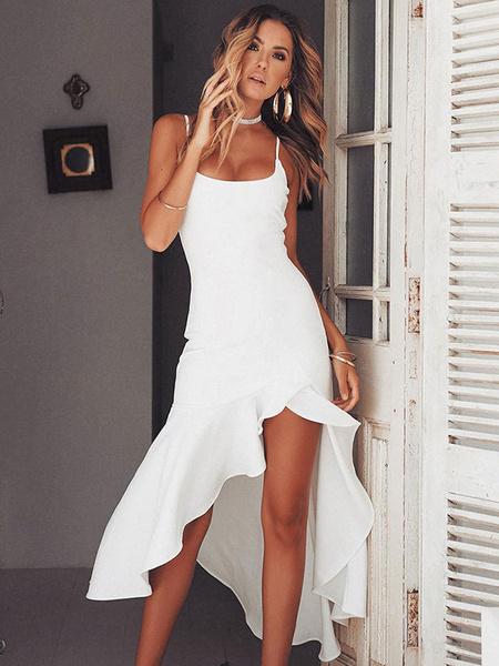 Milanoo Sexy Bodycon Dress Shaping Maxi Dress Sleeveless Ruffles Irregular Party Dress