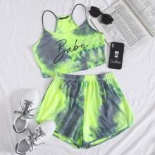 Cami Top mit Batik und Buchstaben Muster & Delphin Shorts Set