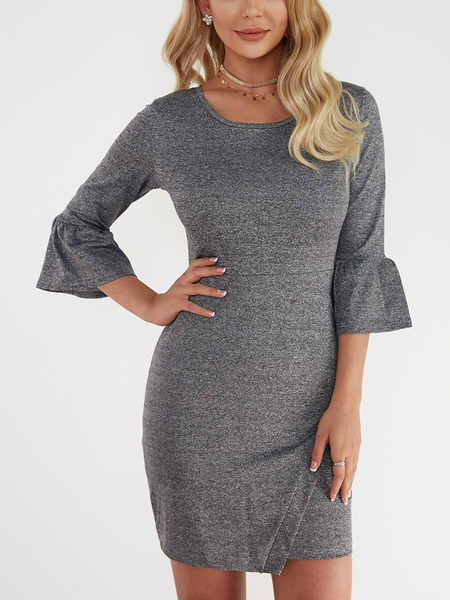 Yoins Dark Grey Crew Neck Puff Sleeves Mini Dress