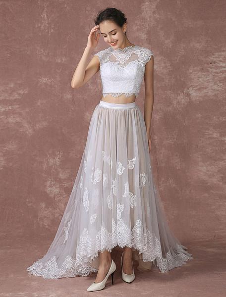 Milanoo Cultivo superior vestido tul baja alta Vestido de novia diseño trasero vestido novia vestido de novia cuello de ilusion