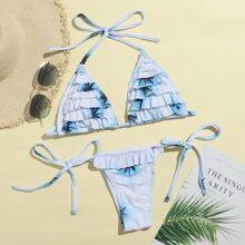 Tie Dye Tiered Ruffle Triangle Bikini Swimsuit
