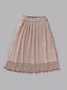 Toddler Girls Multi-color Striped Lettuce Trim Glitter Skirt