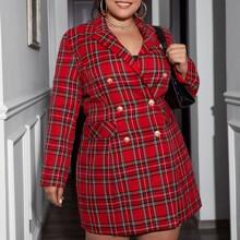 Kleid mit doppelten Knopfleisten und Karo Muster
