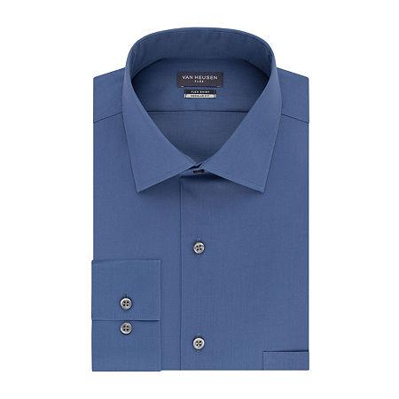 Van Heusen Flex Collar Dress Long Sleeve Shirt, 18 34-35, Blue