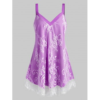 Plus Size Sweetheart Neck Floral Lace Overlay Tank Top