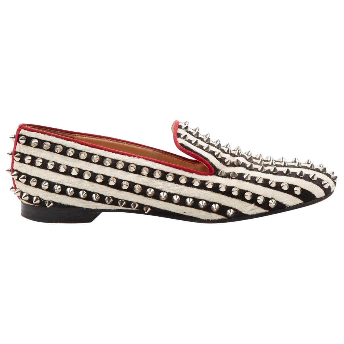 Christian Louboutin \N Black Pony-style calfskin Flats for Women 38 EU