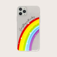1 pieza funda de iphone con estampado de arcoiris