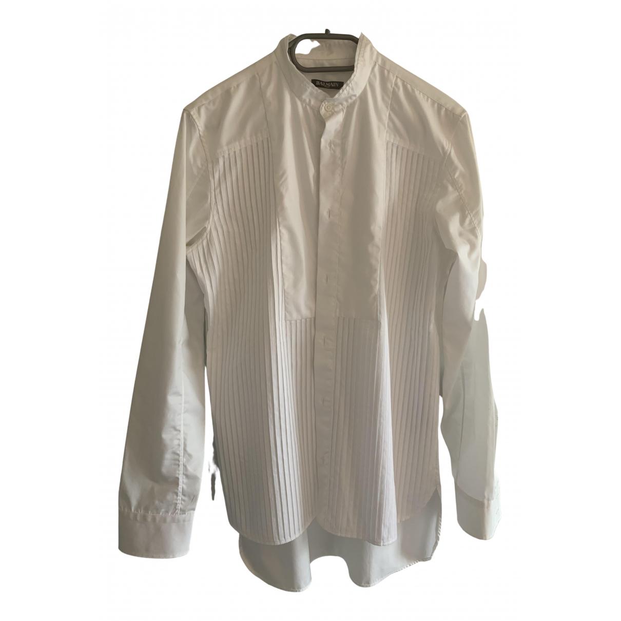 Balmain N White Cotton Shirts for Men 38 EU (tour de cou / collar)