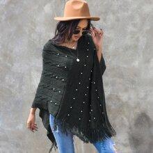Fringe Hem Pearls Poncho Sweater