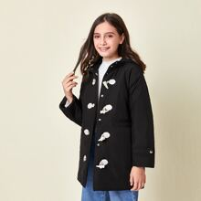 Girls Horn Buckle Front Hooded Puffer Coat