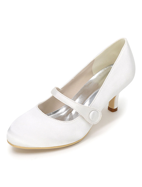 Milanoo Vintage Wedding Shoes White Mary Jane Heels Button Round Toe Bridal Shoes